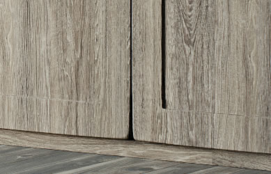 Integrity bedrooms Phoenix fitted bedroom close up wardrobe detail base