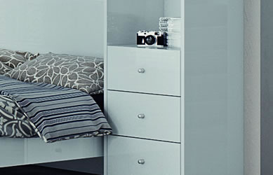 White bedroom furniture with white chest of drawers